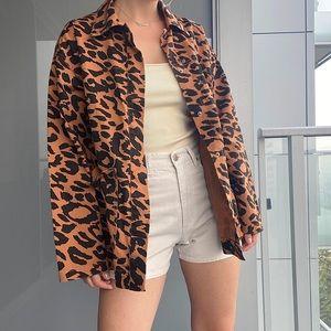 ASOS Leopard Print  Denim Jacket